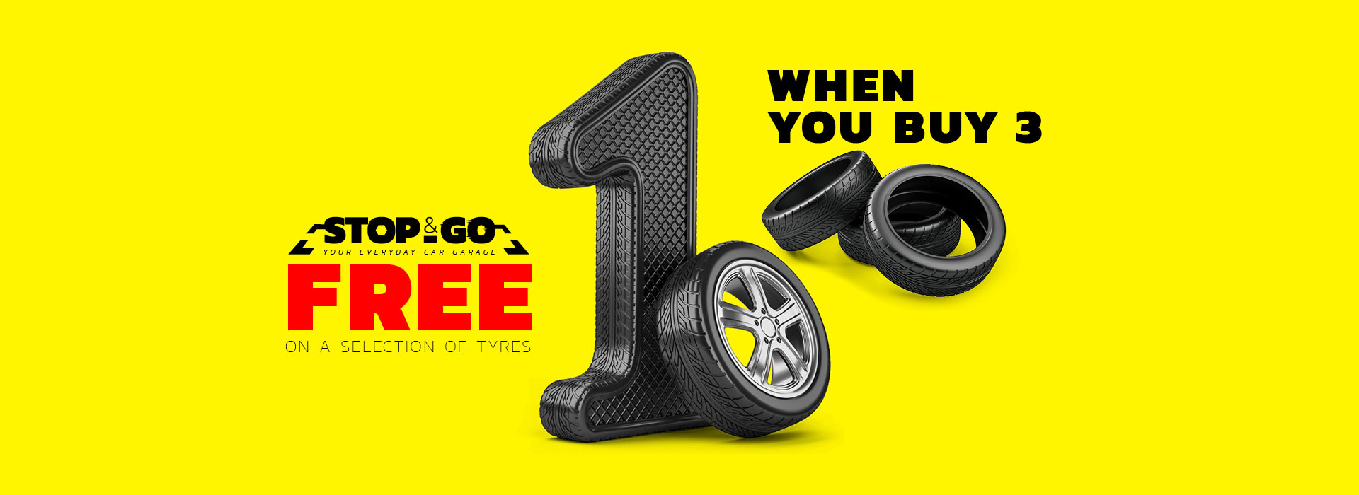 Buy 3 Get 1 Free on selected Tyres at Stop&Go