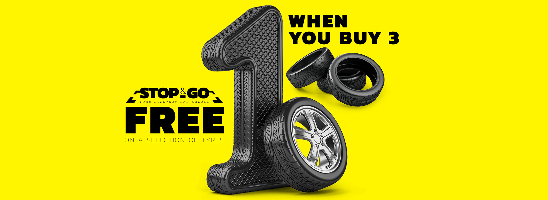 Buy 3 Get 1 Free Tyres at Stop & Go