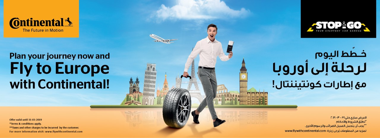 Continental Tyres - Fly to Europe Offer on Buying 4 Tyres